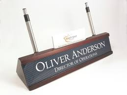 personalized desk name plate nameplate business card and pen holder gany color desk wedge with carbon fiber look insert