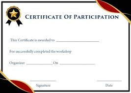 Certificate Of Participation Templates Certificate Of Participation In Workshop Template 10