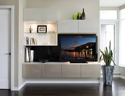 White Entertainment Center with Shelving Cabinets Built in Lighting and High Gloss Grey Accents Built-in Centers \u0026 Media   California Closets