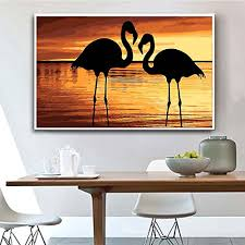 wooden framed diy oil painting paint by number kit flamingo colorful canvas arts craft wall decor 50x65 inch