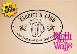 pub sign wall decal man cave manly custom vinyl wall art on custom vinyl wall art stickers with custom bar pub sign wall decals vinyl art stickers