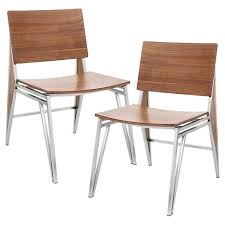 contemporary wood chairs. Tetra Contemporary Dining Chair Stainless Steel/Walnut Wood (Set Of 2) -  LumiSource Contemporary Wood Chairs