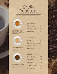 Cafe Menu Template Classic Coffee Shop Menu Template