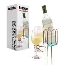 bartender picnic stake set of 3 wine glass holders bottle