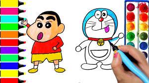 Benvenuti sulla pagina ufficiale di doraemon! Draw Color Paint Doraemon Vs Shinchan Coloring Pages And Learn To Color Youtube