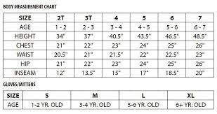 Snow Dragons Kids Size Chart Sturtevants