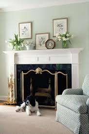 beautiful room decor featuring well appointed white fireplace mantel with fireplace accessories gorgeous cast brass fireplace screen with shell design