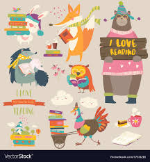 set of cartoon s reading books vector image