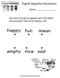 Kindergarten English Opposites Worksheet Printable | Worksheets ...