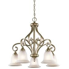 kichler monroe 5 light downlight chandelier in sterling gold traditional chandeliers chandeliers