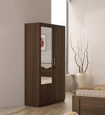 kosmo crescent two door wardrobe with mirror in dark acacia finish by spacewood