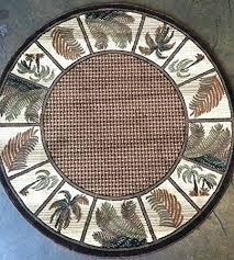 modern round area rug point oasis tropical palm tree design 1 7 feet 8 inches x