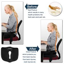 slow rebound ocks seat cushion reduce coccyx sciatica and tailbone pain for office chair car truck plane lower back wheelchairs