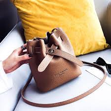 women faux leather fashion casual bucket bag shoulder bag lock buckle cross bag pink cod