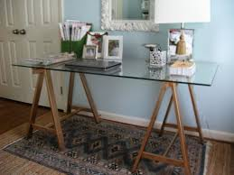 permalink to glass top trestle desk