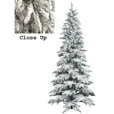 9' Snow Flocked Layered Utica Fir Slim Artificial Christmas Tree - Unlit