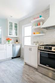 open shelving in a bright and uncluttered kitchen