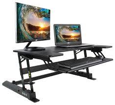 vivo height adjustable standing desk monitor riser gas spring black tabletop sit to stand workstation desk monitor riser s84