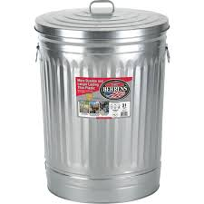 galvanized steel round trash can with lid