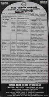 Central Institute Of Tool Design Balanagar Ida Telangana Vacancies At Msme Tool Room Hyderabad Central Institute Of