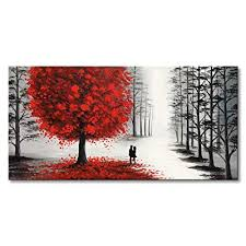 landscape canvas wall art with red tree