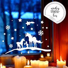 Fensterbild Einhörner Winter Wiederverwendbar Fensterdeko