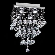 7pm h15 x w11 square rain drop clear k9 crystal ceiling light lamp modern contemporary chandelier lighting fixture for bathroom foyer entry