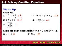 2 2 1 solving one step equations