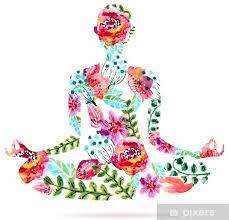 Sticker Pose de yoga, aquarelle lumineuse illustration florale • Pixers® -  Nous vivons pour changer