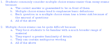 multiple choice exams student services the university of  examples