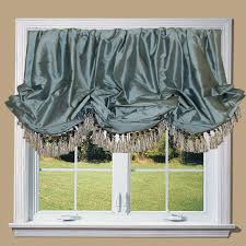 silk balloon valance with tassel trim our kitchen is right off the living room and all open so these would match the ds i am in love with in the