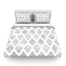 amanda lane gray moroccan grey white featherweight duvet cover