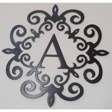 family initial monogram inside a metal scroll with a on wall art letters metal with perfect design of decorative metal letters wall art best home