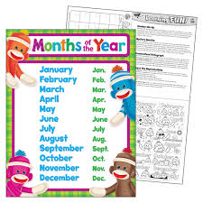 Months Of The Year Sock Monkeys Learning Chart