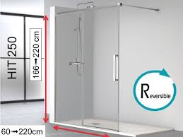 open shower enclosure 120 x 195 cm fixed glass with sliding door hit250