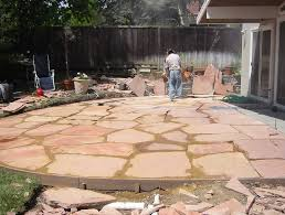 laying a flagstone patio over concrete patio design