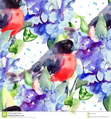 beautiful blue flowers with bird