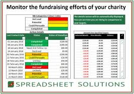 Charity Fundraiser Schedule 180 Spreadsheet Solutions