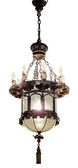 1920s french gothic tudor pendant light with slumped glass made with tole 2
