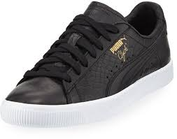 leather low top sneakers puma clyde snake embossed sneaker black