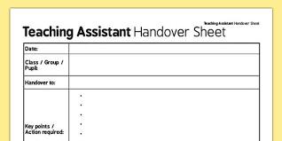 Teaching Assistant Handover Sheet Teaching Assistant