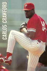 Carlos Crawford pitched in one game for the 1996 Phillies. | Baseball cup,  Phillies, Baseball cards