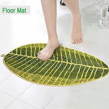 qoo10 green leaf shaped oval bathmat living room carpet bedroom rug washable household bedd