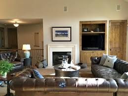 sherwin williams accessible beige with leather sectional fireplace and built in wood tv stand
