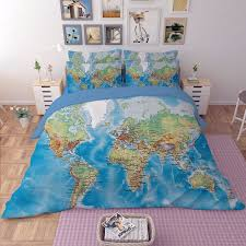 uk hot duvet cover with pillow cases world map hd design quilt cover bedding set