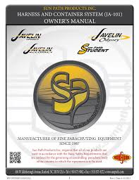 Javelin Container Sizing Chart Owners Manual Harness And Container System Ja 101 Sun