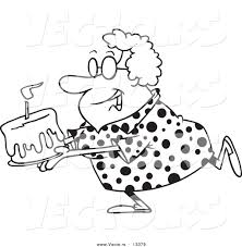 Vector of a Cartoon Happy Grandma Carrying a Birthday Cake ...