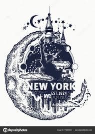 статуя свободы нью йорк и луна тату и футболку дизайн векторное