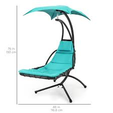Hanging Chaise Lounger w/ Canopy - Teal