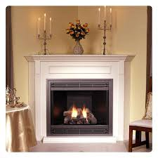 all included white mantel brick liner black outer frame slat louvers bottom trim corner direct vent tahoe deluxe 36 fireplace with white mantel and